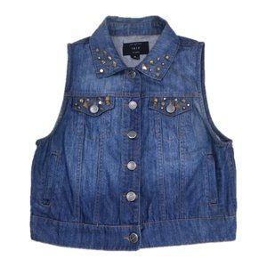 iris Denim Embellished Studded Vest, Size M